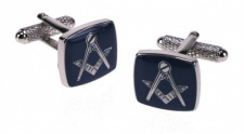 Masonic Blue Square & Compass Silver Colour Cufflinks